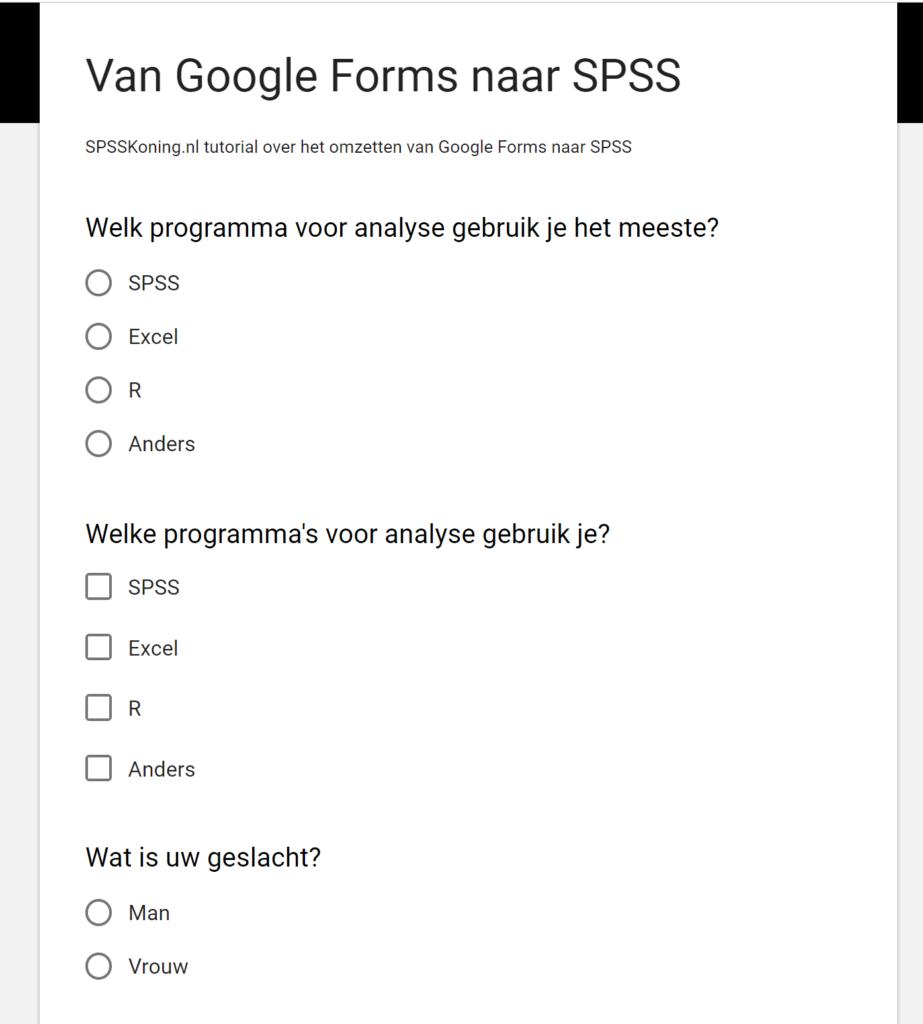 Voorbeeld vragenlijst in Google Forms